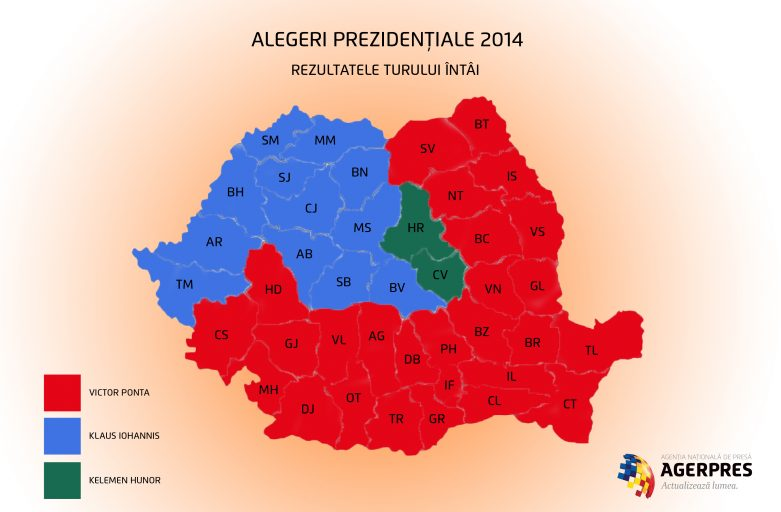 Final results of 1st round of presidential polls: Ponta – 40.44 pct, Iohannis – 30.37 pct