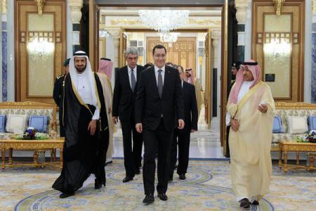 Prime minister Victor Ponta, King Salman Bin Abdulaziz Al Saud meeting in Riyadh