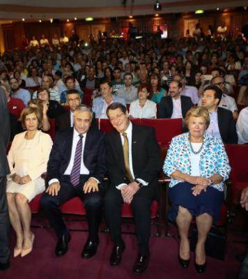 Andri Anastasiades and Meral Akinci attend a bicommunal concert by young musicians